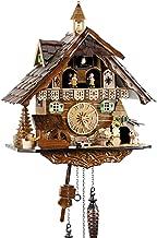 Reloj de cuarzo negro con pilas, funciona con pilas, con mecanismo de música y cuco de reloj, de Buscador, 41 cm, 4832 QMT, color negro, Casa Black Forest