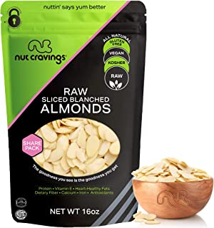 Sponsored Ad - Blanched Sliced Almonds - Raw, Superior to Organic (16oz - 1 Pound) Packed Fresh in Resealble Bag - Nut Tra...