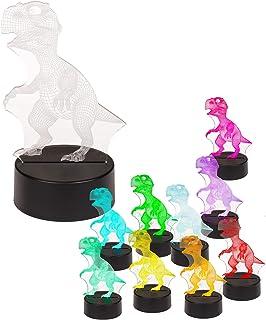 PhiLuMo Lámpara LED 3D / luz nocturna – Dinosaurio – 20 cm – funciona con pilas o USB – Luz de ambiente para niños