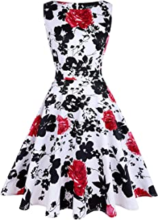 129e2d2b0bd OWIN Women s Vintage 1950 s Floral Spring Garden Rockabilly Swing Prom  Party Cocktail Dress