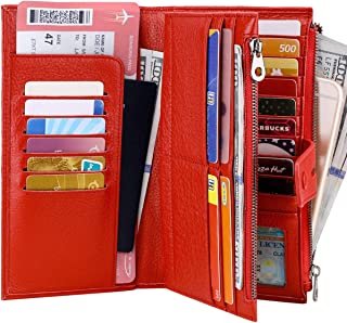 Womens Leather Wallet with Checkbook Holder, Large Capacity Wallets for Ladies with Zipper Pockets RFID Blocking