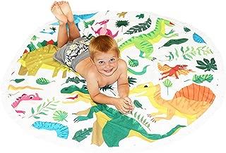 Dinosaur Beach Towel For Kids - Thick Round Beach Blanket - Soft Microfiber Terry Oversized Dino Towels For Boys & Girls - Circle Dinosaur Mat For Swimming, Beach, Play, Picnics, & Bath (Dinosaur)