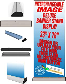 "Premium Wide Base Stand 33"" x 79"" with Interchangeable Banner Graphics Cassettes Retractable Roll Up Banner Stand with Print & Portable Bag"