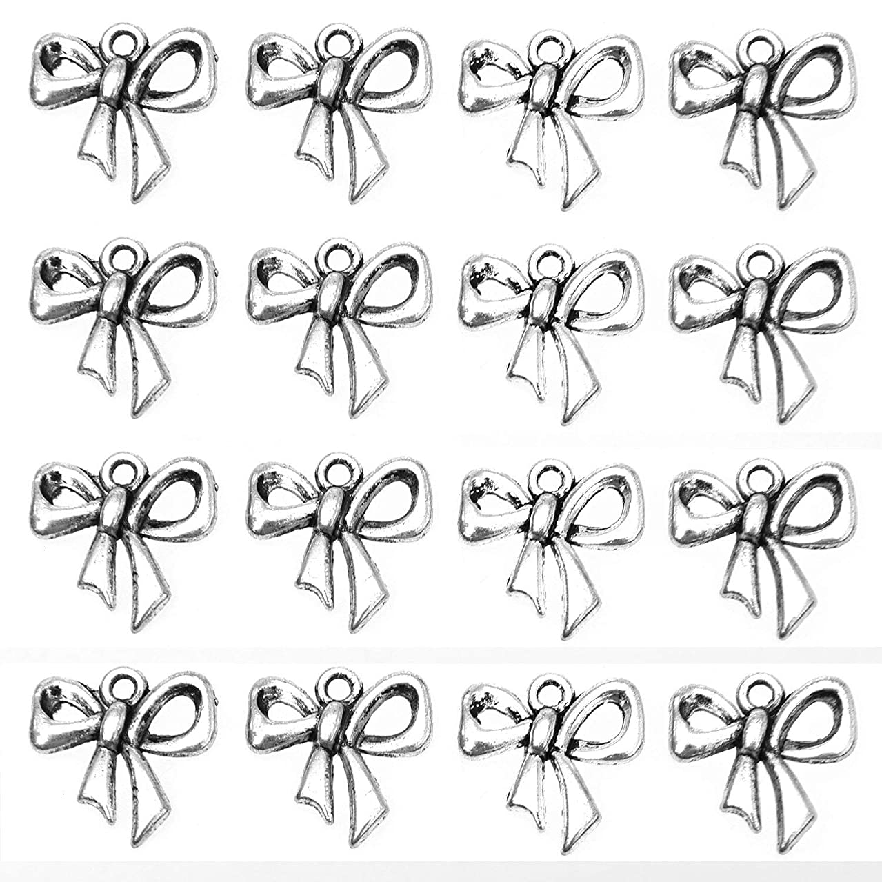 Monrocco 100 Pcs Antique Silver Metal Alloy Bow Charms Bowtie Charms Pendant Bulk for Crafts Bracelets Jewelry Making