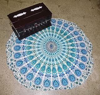 Mandala Mat Beach Towel Blue Peacock Mandala Round Table Cover Beach Throw Tapestry Hippie Gypsy Tablecloth Round Yoga Mat, 50 Inch 100% Pure Cotton Screen Print Yoga Mat By
