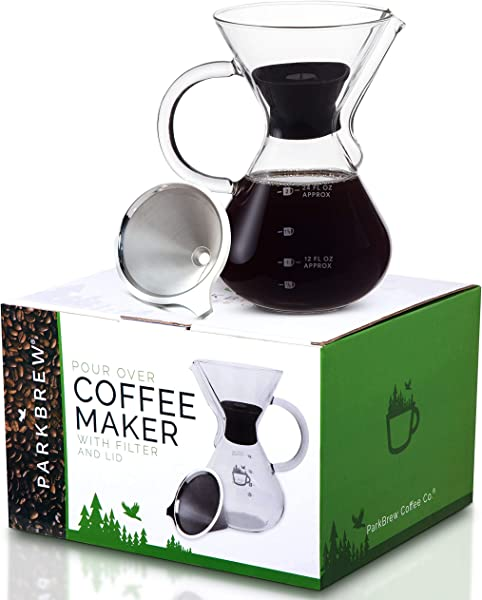 ParkBrew Pour Over Coffee Maker Includes Glass Pourover Carafe Up To 27 Fl Oz Carafe Lid Reusable Coffee Filter Or Dripper
