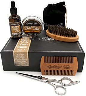 Beard Grooming and Trimming Kit for Men Care, Unscented Beard Oil, Mustache and Beard Balm Butter Wax, Beard Brush, Beard Comb, Barber Scissors for Styling, Shaping and Growth Set Box