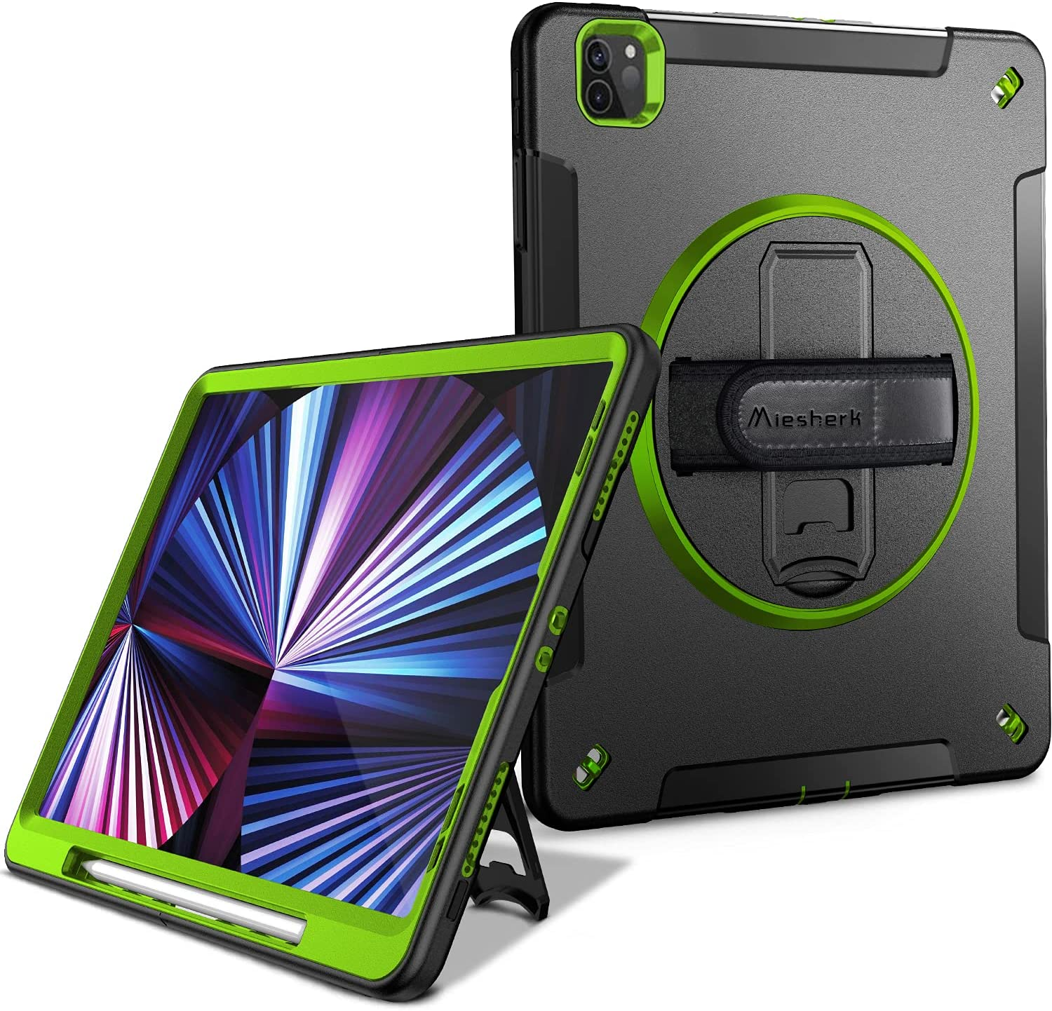Miesherk iPad Pro 11 Case 2021 3rd Generation: Military Grade Heavy Duty Shockproof Protective Cover for iPad 11 Inch 2021 - Pencil Holder - Rotating Stand - Hand/Shoulder Strap - Green