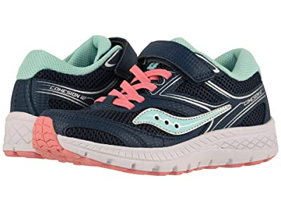 Saucony Kids Cohesion 12 A/C (Little Kid/Big Kid) (Navy/Turquoise) Girl