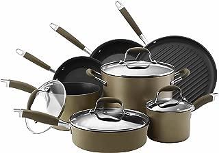 Anolon 82693 Advanced Hard Anodized Nonstick Cookware Pots and Pans Set, 11 Piece, Bronze