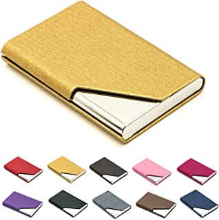 Padike Business Name Card Holder PU Leather & Stainless Steel Multi Card Case (Gold)