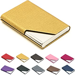Business Name Card Holder Luxury PU Leather & Stainless Steel Multi Card Case,Business Name Card Holder Wallet Credit Card ID Case/Holder for Men & Women - Keep Your Business Cards Clean (Gold) ¡