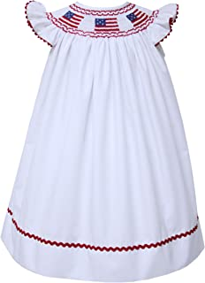 Carouselwear Girls US Flag Dress White Independence Day Embroidered Bishop