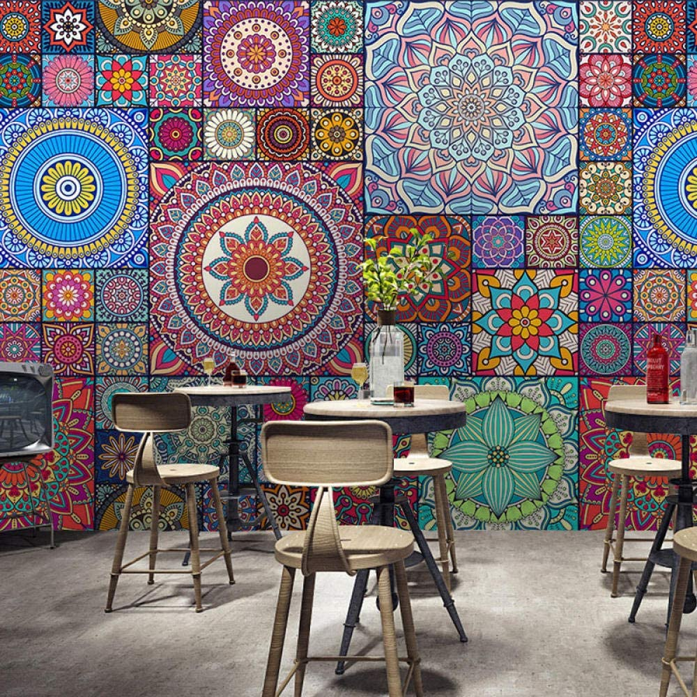 Simulation Tile Pattern Wallpaper Vintage Ethnic Style Wall Decoration Tea  Shop Bohemian Morocco Wallpaper Living Room for Bedroom Rose Gold  retro-250cm×170cm: Amazon.co.uk: DIY & Tools
