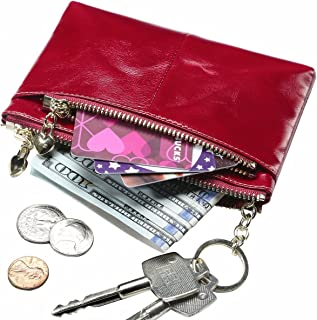 Itslife Women's Rfid Leather Coin Purse Zip Small Wallet Change Pouch Card Holder with Key Ring