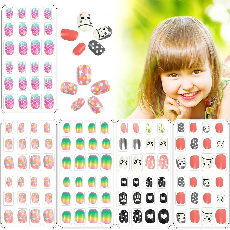 120 PCS Children gift Press On Nails N Fake Full Pre-glue Cover shop Short