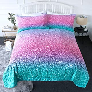 BlessLiving 3 Piece Comforter Set with Pillow Shams - 3D Printed Pink Glitter Bedding Set Girls Women Reversible Comforter...