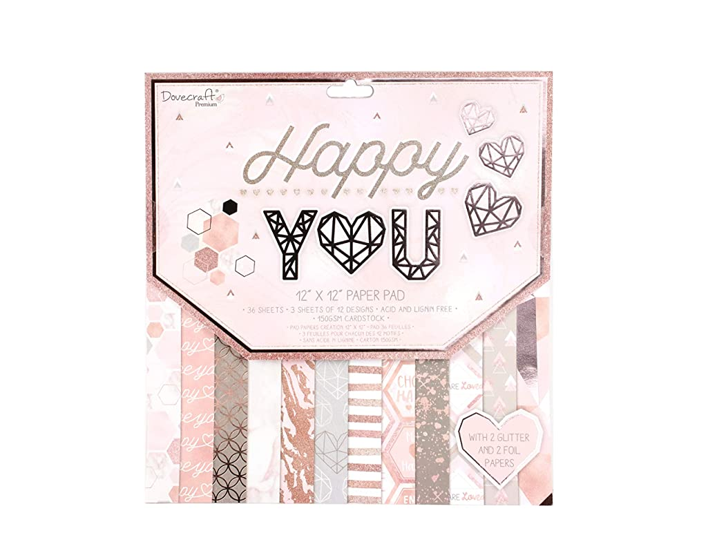Dovecraft Premium Happy You Paper Craft Collection - FSC 12x12 Paper Pad