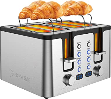 Hosome 4 Slice Toaster,Stainless Steel Bread Bagel Toaster with Warming Rack, 6 Shade Settings, Led Display, Extra Wide Slots