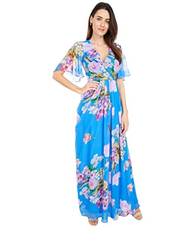 Adrianna Papell Floral Printed Chiffon Gown Women