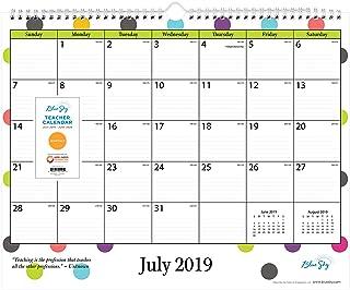 "Blue Sky 2019-2020 Academic Year Monthly Wall Calendar, Twin Wire Binding, Ruled Blocks, 15"" x 12"", Teacher Dots"
