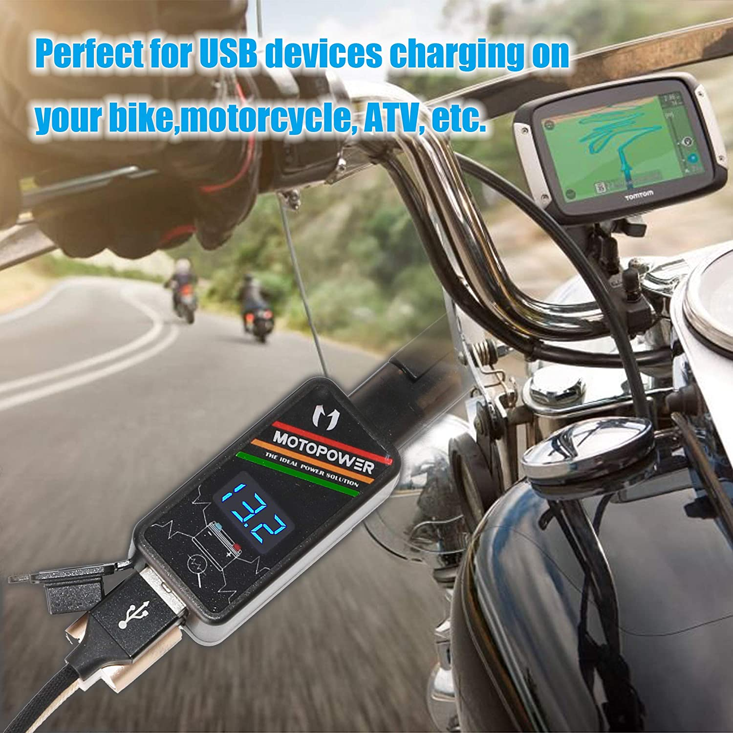 MOTOPOWER MP0620A 4.2Amp Motorcycle Dual USB Charger Kit SAE to USB Adapter with LED Voltmeter and Ring Terminal Harness