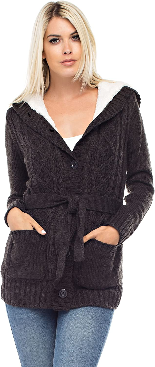 Allora Betsy Red Couture Women's Soft Hooded Cable Sweater Cardigan