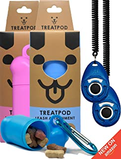 TreatPod 2 Pack Treat Holders and 2 Training Clickers - Blue and Pink Leash Container Pouches and Training Aides