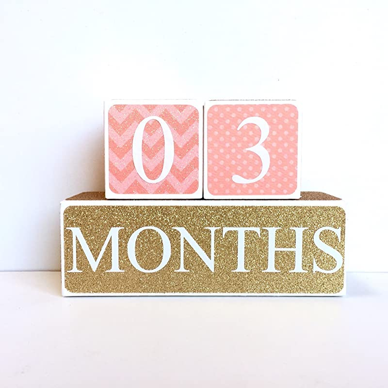 Coral And Gold Baby Age Blocks Milestone Blocks Photo Prop Countdown Blocks