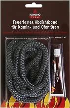 Kamino-Flam Abdichtband bis 550 Grad - Glasstrickschnur mit Kleber - Kaminschnur asbestfrei - Abdichtschnur für Kamin dauertemperaturbeständig - Ofendichtschnur 10 mm - Ofenschnurkleber