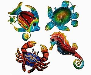 Metal Ocean Wall Sculptures, Set of 4 Colorful Metal Sea Turtle Fish Crab and Seahorse Outdoor Wall Decor, Metal Wall Decor Outdoor Wall Art For Patio Pool Bathroom Yard Farmhouse Fence Deck.