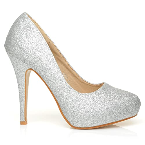 72201c9cdb4 H251 Silver Holographic Glitter Stiletto High Heel Concealed Platform Court  Shoes