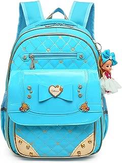 Waterproof PU Leather Kids Princess Backpack Cute School Bookbag for Girls (Large, Bowknot Blue)