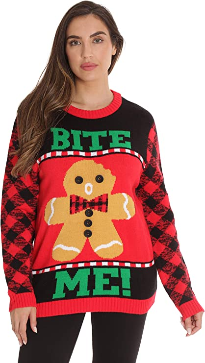 #followme Womens Ugly Christmas Sweater - Gingerbread man funny ugly Christmas sweater