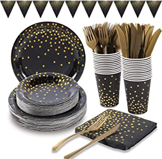 Black and Gold Party Supplies 150Pcs Golden Dot Disposable Party Dinnerware Includes Paper Plates, Napkins, Knives, Forks, 12oz Cups, Banner, for Graduation, Birthday, Cocktail Party, Serves 25