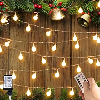 33ft 100 LEDs Globe String Lights Starry Fairy Lights with 8 Modes and Timer Remote Control Ball String Lights for Outdoor/Indoor Bedroom, Garden, Patio, Wedding, Christmas Tree Warm White