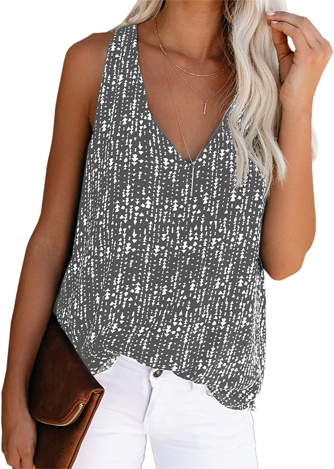 Canikat Sleeveless Tank Tops for Women Sexy V Neck Halter Tank Blouse Shirts Loose Elegant Printed Cami Top Summer Casual Flowy Chiffon Tank Blouses for Teen Girls Juniors Ladies Grey M