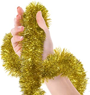Christmas Tree Gold Tinsel Garland Metallic Streamers Celebrate a Holiday New Years Eve Happy Party Indoor and Outdoor Disco Party Decorations Supplies