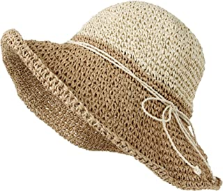 WITHMOONS Women Floppy Flanging Straw Sun Hat Summer Beach Cap Wide Brim SLH1256