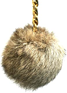 Small Fur Pom Pom Charm Keychain FOB (Natural)