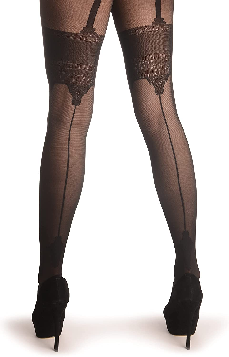 Black With Faux Crowned Stockings & Back Seam - Pantyhose (Tights)
