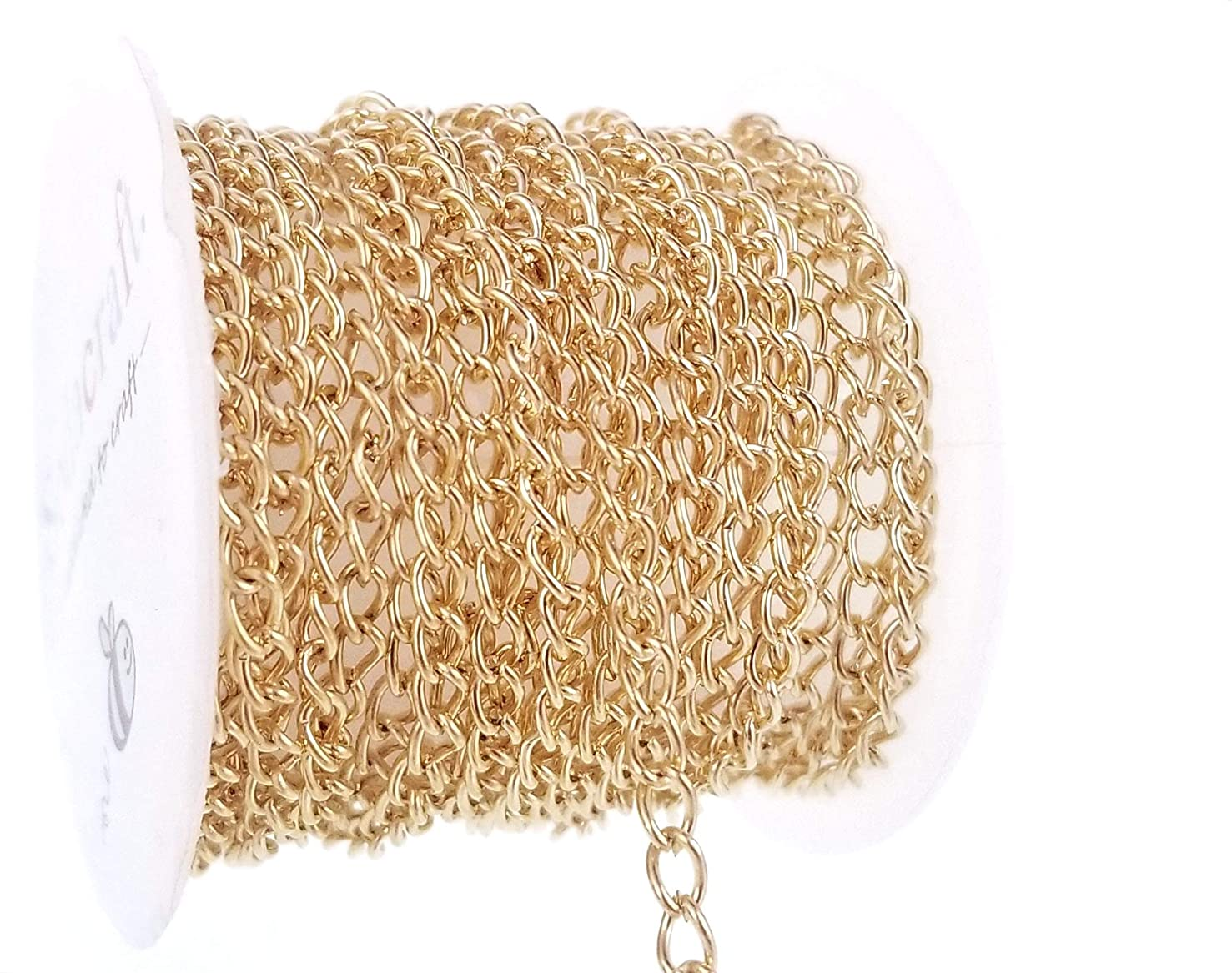 Light Gold Curb Link Chain Spool for Jewelry Making, Crafts (3 x 4.5mm) 3mm