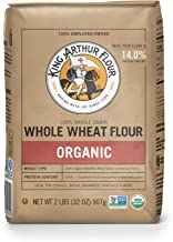 King Arthur Flour 100% Organic Wheat Flour, Whole, 2 Pound (Pack of 12)