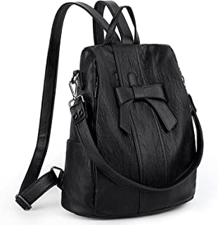 UTO Women Anti-Theft Backpack Purse PU Washed Leather Convertible Ladies Rucksack Bowknot Shoulder Bag Black