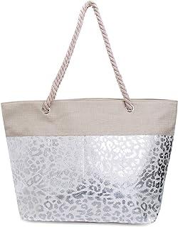 Faera Strandtasche mit glänzendem Streifen oder Leoparden-Muster XXL Shopper Beach Bag mit breiter Kordel Schultertasche, ...