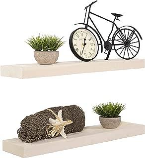 Imperative Décor Floating Shelves Rustic Wood Wall Shelf USA Handmade | Set of 2 (White Wash, 24
