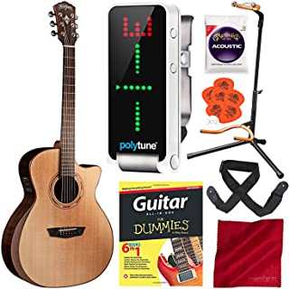 Washburn Comfort Series WCG20SCE Acoustic-Electric Guitar with TC Electronic PolyTune Polyphonic Clip-On Tuner, Guitar for Dummies, and Deluxe Accessory Bundle