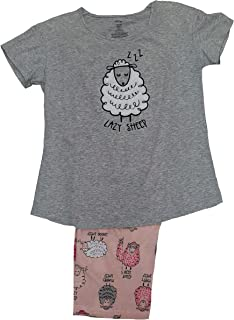 Lazy Sheep Light Heather Gray 2 Piece Knit Pajama Sleep Set