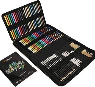 Zenacolor Kit Dessin Complet 74 pièces avec 1 Cahier Dessin, Trousse 24 crayons aquarelle 12 crayon de couleurs 12 crayons...