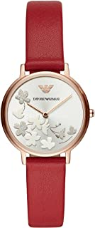 Emporio Armani Women's Fashion Stainless Steel Quartz Watch with Leather Calfskin Strap, red, 14 (Model: AR11114)